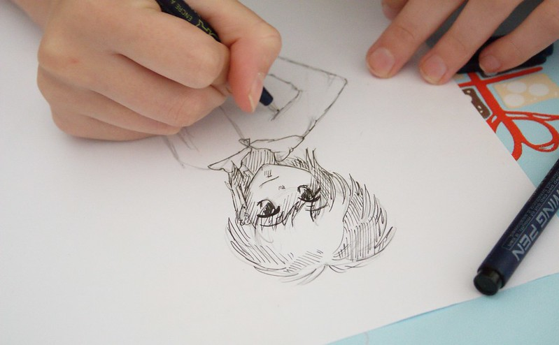 manga drawing with a pen kit